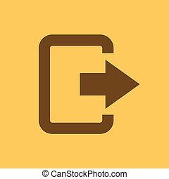 el, salida, bolsa, icon., logout, y, producción, salida, afuera, símbolo., plano