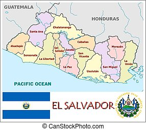 El salvador coat of arms seal or national emblem isolated stock