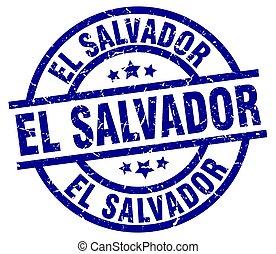 El Salvador blue round grunge stamp