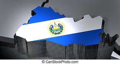 El Salvador - country borders and flag - 3D illustration