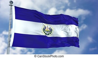 El Salvador Flag in a Blue Sky. Use this clip loud and proud...