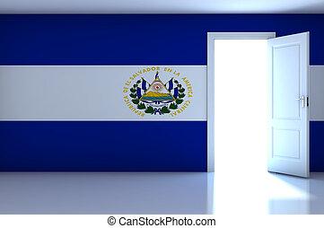 El Salvador flag on empty room