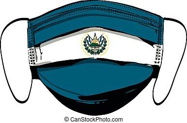 El Salvador flag on medical face masks isolated on white vector illustration