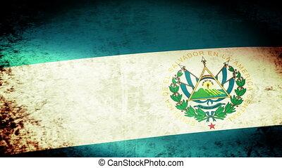 El Salvador Flag Waving, grunge look