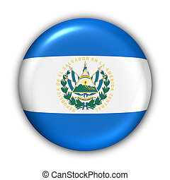 World Flag Button Series - Central America/Caribbean - El Salvador (With Clipping Path)
