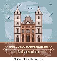 El Salvador landmarks. San Francisco church. Retro styled image