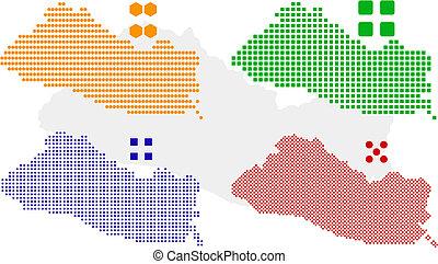 el salvador - layered vector pixel map of El Salvador.