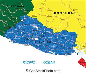 Drawings Of El Salvador And Guatemala Waving El Salvador And - Political map el salvador