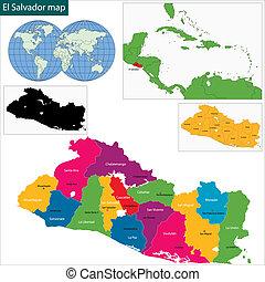 El Salvador map - Map of the Republic of El Salvador with...