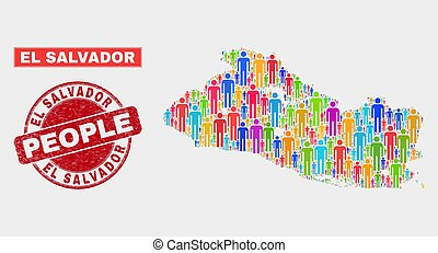 El Salvador Map Population People and Corroded Stamp Seal - ...