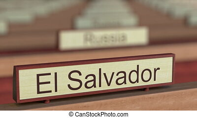 El Salvador name sign among different countries plaques at...
