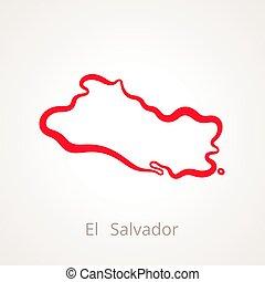 El Salvador - Outline Map - Outline map of El Salvador...