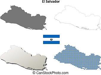 Outline el salvador map Administrative divisions of el vector