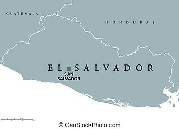 Vectors Illustration Of El Salvador Political Map With Capital San - Political map el salvador