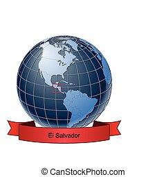 El Salvador, position on the globe Vector version with...