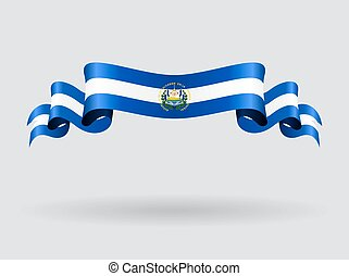 El Salvador wavy flag. Vector illustration. - El Salvador...