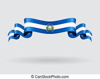 El Salvador wavy flag. Vector illustration. - El Salvador...