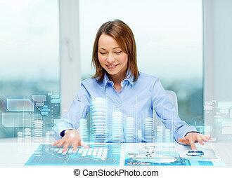 el señalar de la mujer, a, botones, en, virtual, pantalla