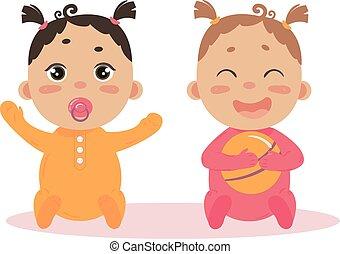 el sentarse junto, recién nacido, gemelos, nena