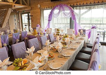el, servido, boda, tabla