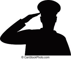 el, silueta, de, un, soldier's, militar, saludo