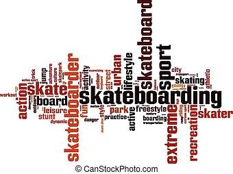 el skateboarding, palabra, nube