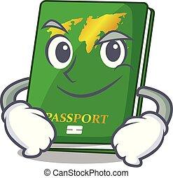 el smirking, forma, verde, caricatura, pasaporte
