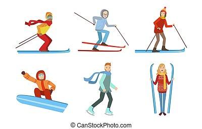 el snowboarding, gente, invierno, conjunto, ilustración, diferente, deporte, esquí, actividades, vector, patinaje