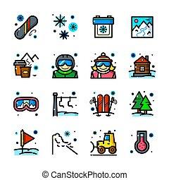 el snowboarding, iconos, conjunto, vector, ilustración