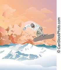 el snowboarding, montañas, amanecer
