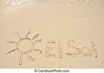 El Sol (the Sun in Spanish) Written in the Sand on a Beach with Drawing of the Sun