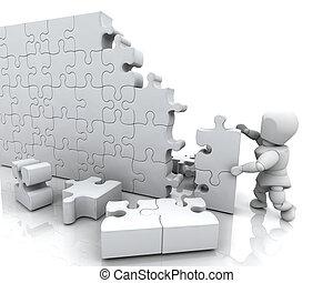 el solucionar, rompecabezas, rompecabezas