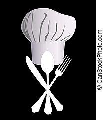 el sombrero de chef, con, un, cuchillo, cuchara, y, tenedor