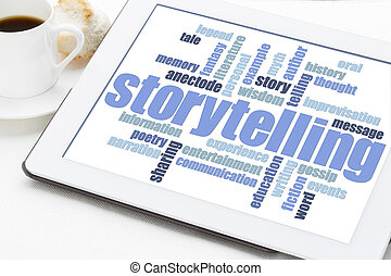 el storytelling, palabra, nube, tableta