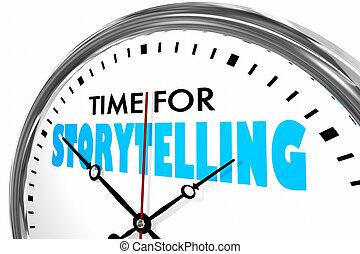 el storytelling, reloj, ilustración, palabras, tiempo, 3d
