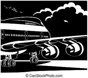 el, sugárhajtású repülőgép, modern, fog, hajlandó, repülőgép