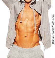 el suyo, abdominal, actuación, gris, músculos, hoodie, ...