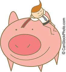 el suyo, ahorro, carácter, cerdo, sueño, caricatura, hombre