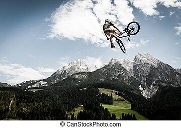 el suyo, aire, alto, biker, bicicleta, arround, gira