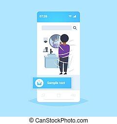 el suyo, app, moderno, smartphone, espejo, hogar, cuarto de...