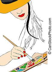 el suyo, artista, -, frente, pintura, pintor