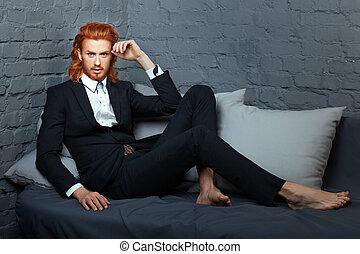 el suyo, beard., pecas, cara, traje, elegante, hombre
