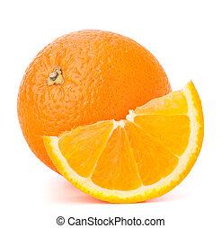 el suyo, cantle, fruta, entero, segmento anaranjado, o