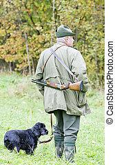 el suyo, cazador, perro, caza