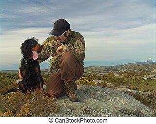 el suyo, cazador, perro