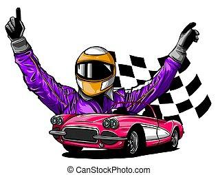 el suyo, coche, ilustración, vector, carrera, conductor, frente