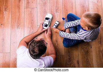 el suyo, coches, padre, hijo, unrecognizable, juego