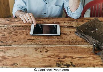 el suyo, de conexión, tableta, hombre