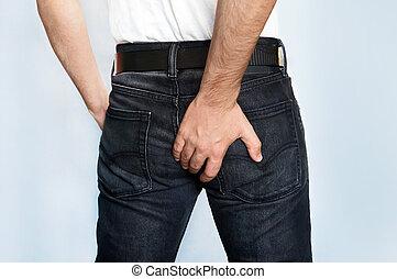 el suyo, diarrea, tenencia, butt, tiene, hombre