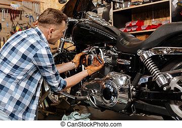 el suyo, diestro, fijación, realizado, bicicleta, mecánico